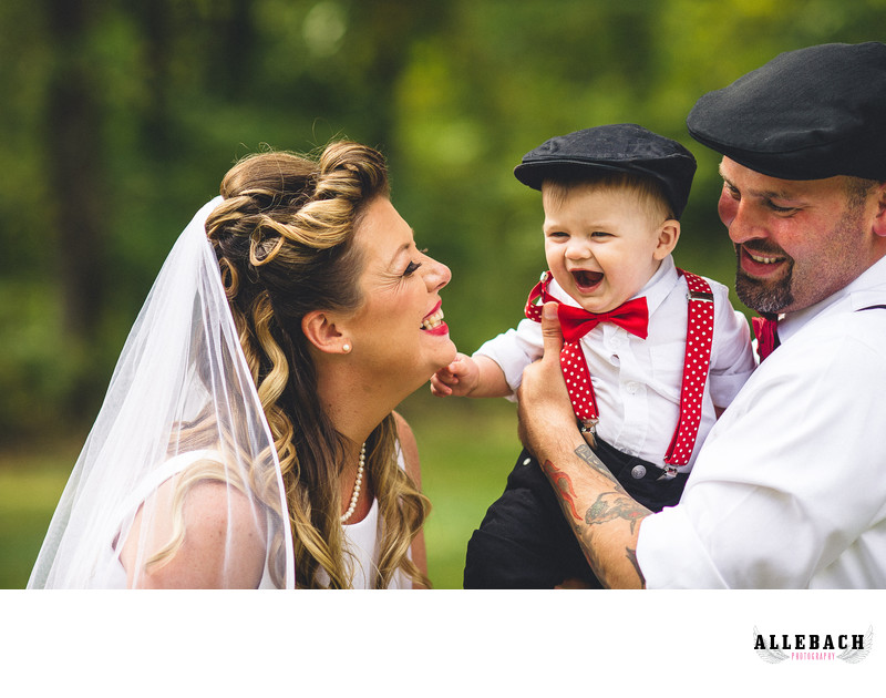 New Jersey Wedding Couple with Cute Kid