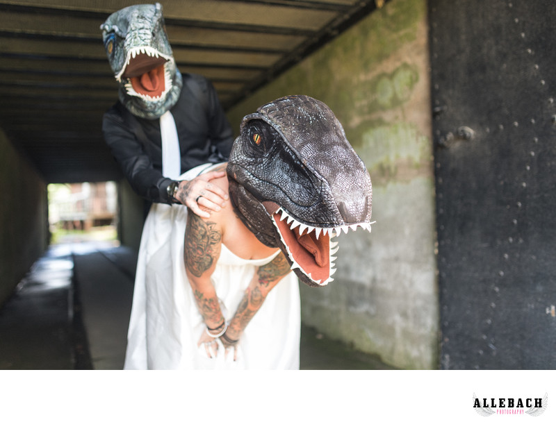 Tattooed Couple in Dinosaur Mask for their Wedding Day