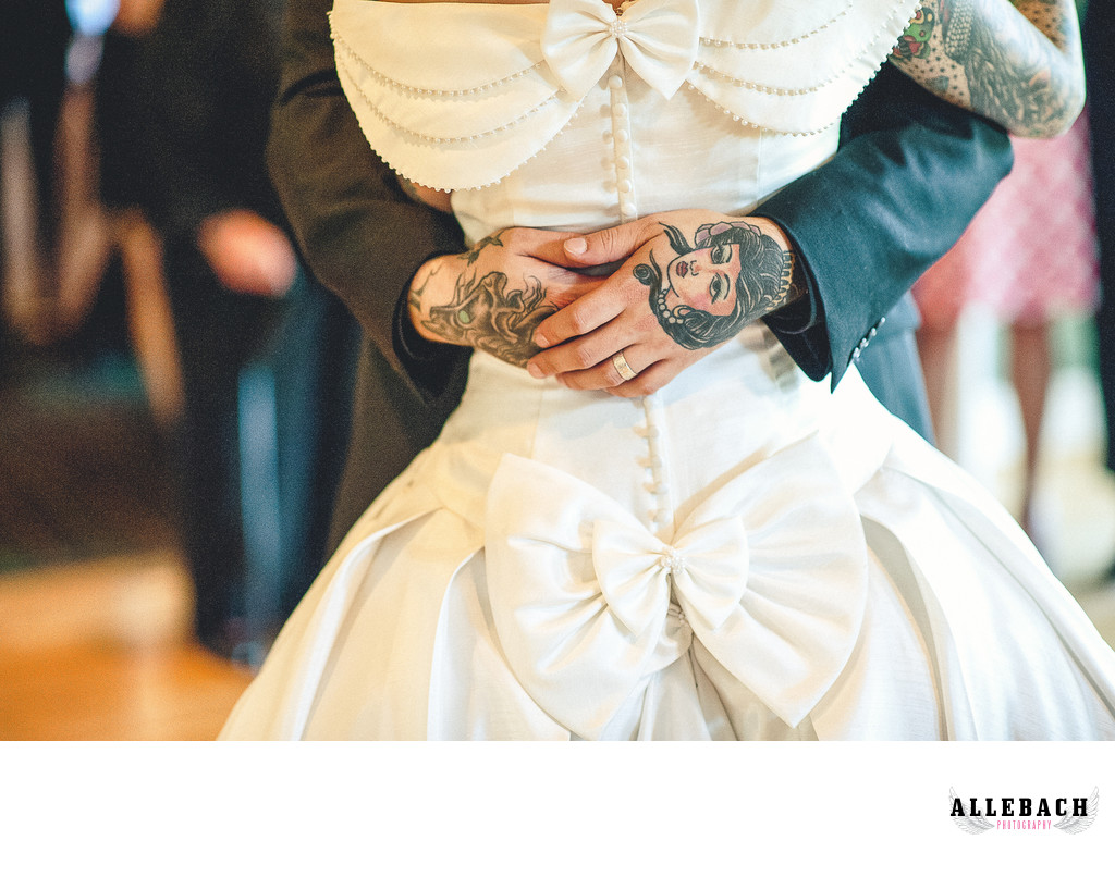 Tattooed Couple Dancing at their Wedding