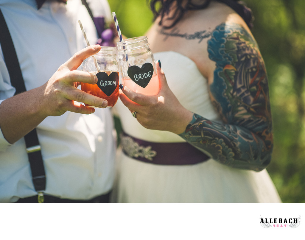 Wedding Bride and Groom Mason Jars