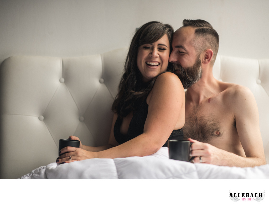 Cute Couples Boudoir Photos in Bed