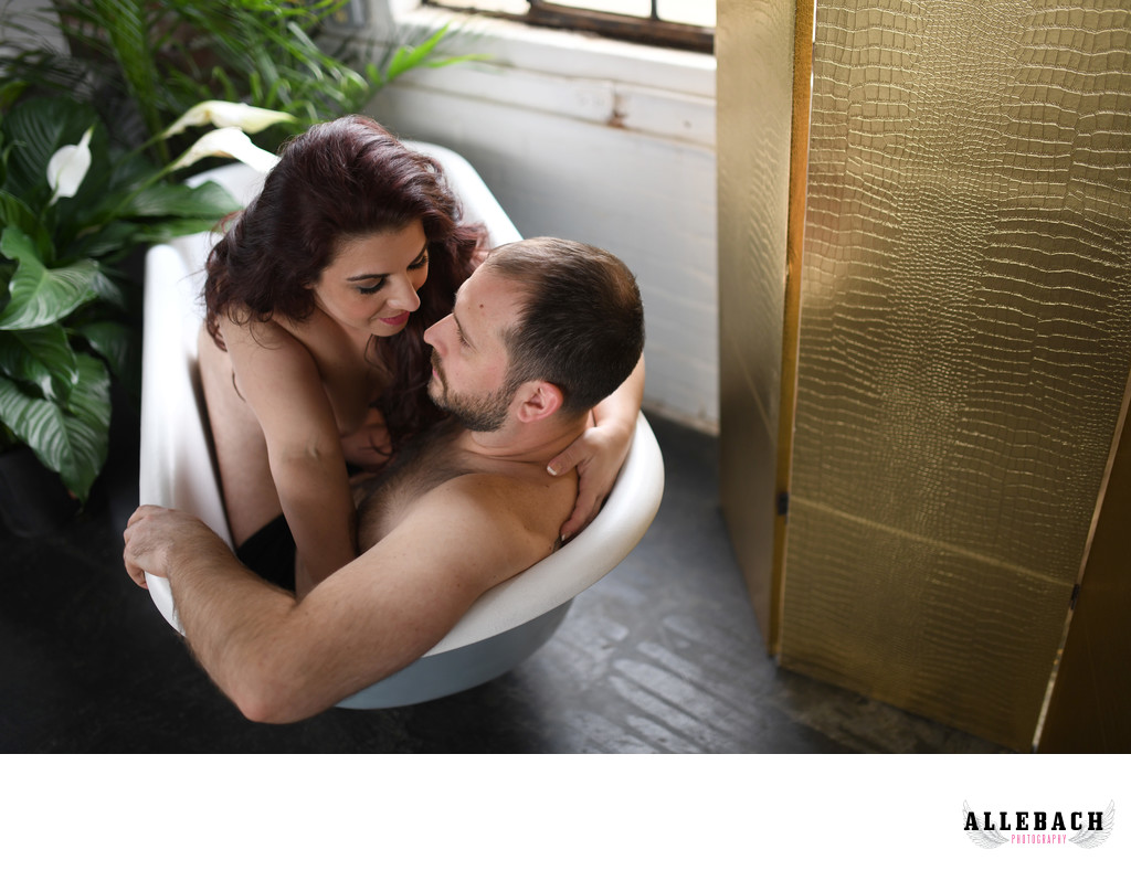 Couples Boudoir Sexy Photoshoot in a Tub