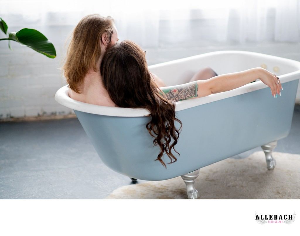 Couples Boudoir Bath Scene at Allebach Photography
