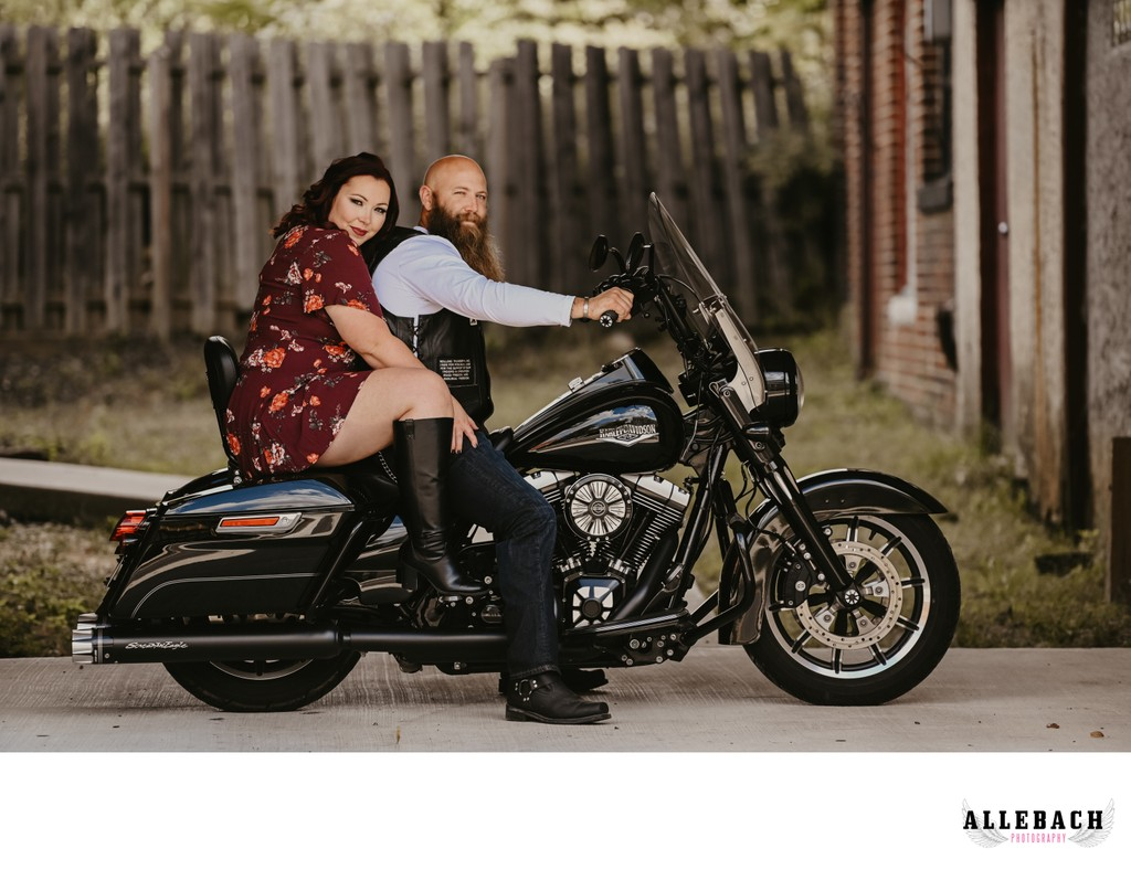 Wilmington Couples Anniversary Photoshoot on Motorcycle