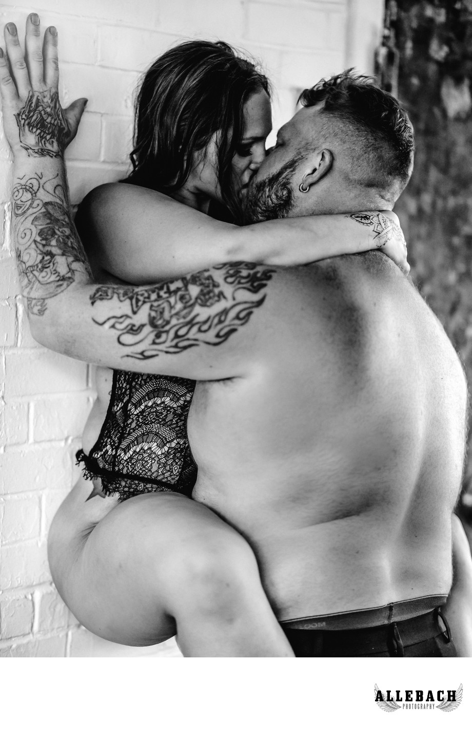 Erotic Couples Photography - Kissing on the Wall