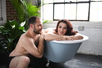 Couples Boudoir in a Cast Iron Tub