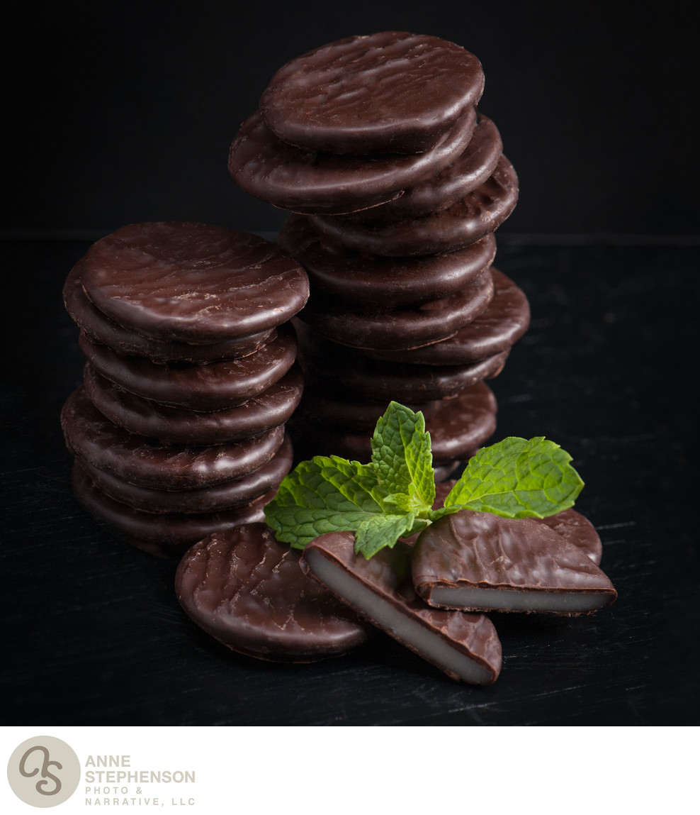 Stacks of mint wafer candies