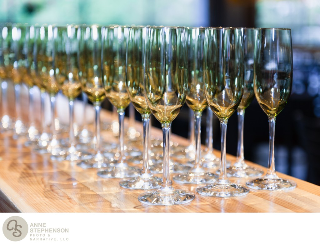 Rows of champagne flutes