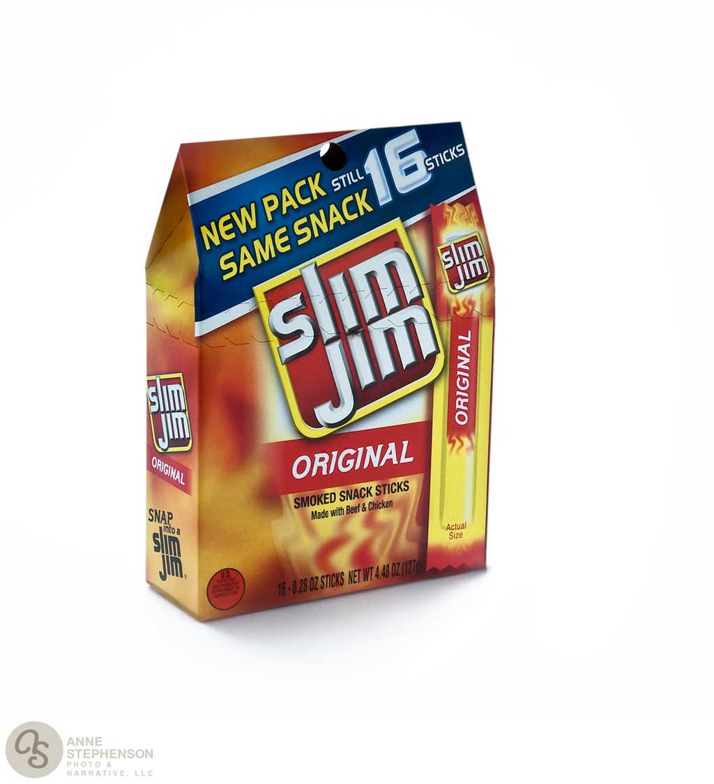 Box of Original Slim Jim brand snack sticks on white