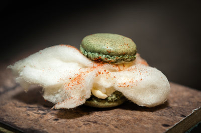 Savory Macaron with Cotton Candy and Tomato Powder
