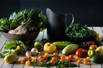 Still life food of fresh farm ingredients and produce