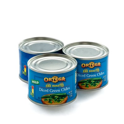 Ortega Fire Roasted Green Chiles in Cans on White