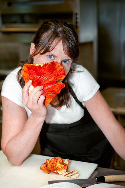 Chef Katie Weinner with lobster mushroom