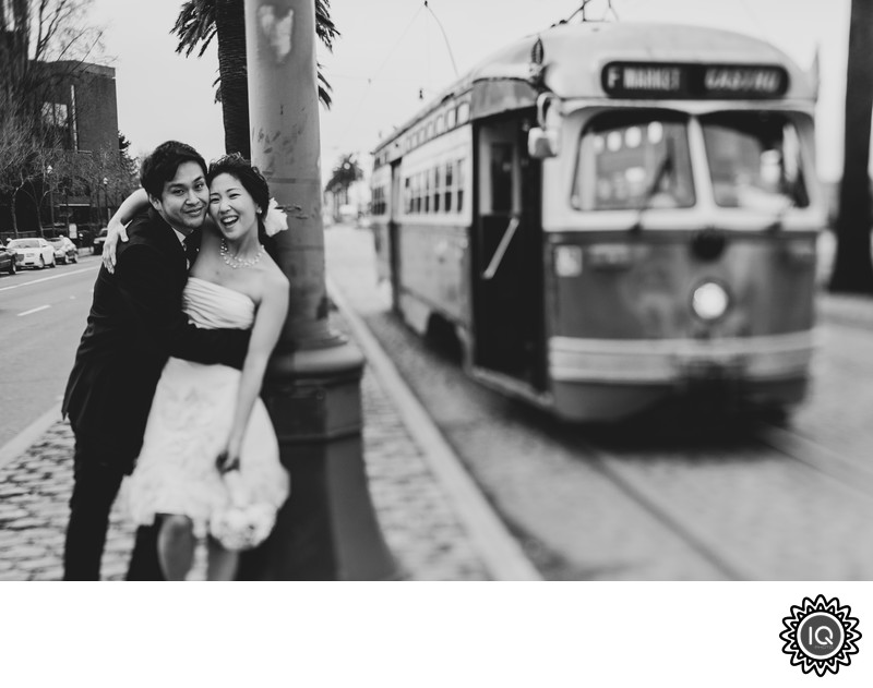 Bride and Groom with Cable Car