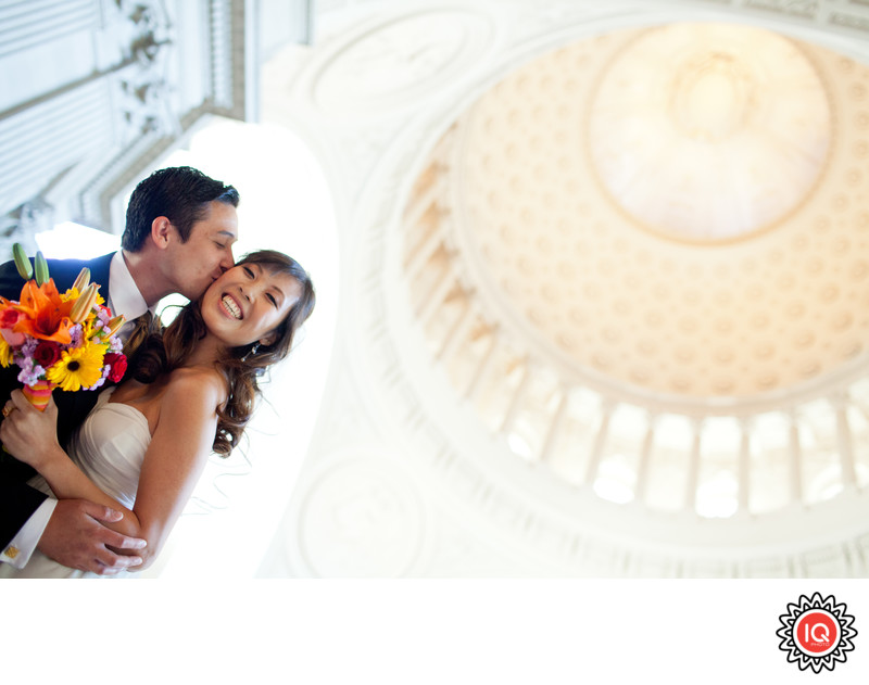 Kissing under SF City Hall Dome
