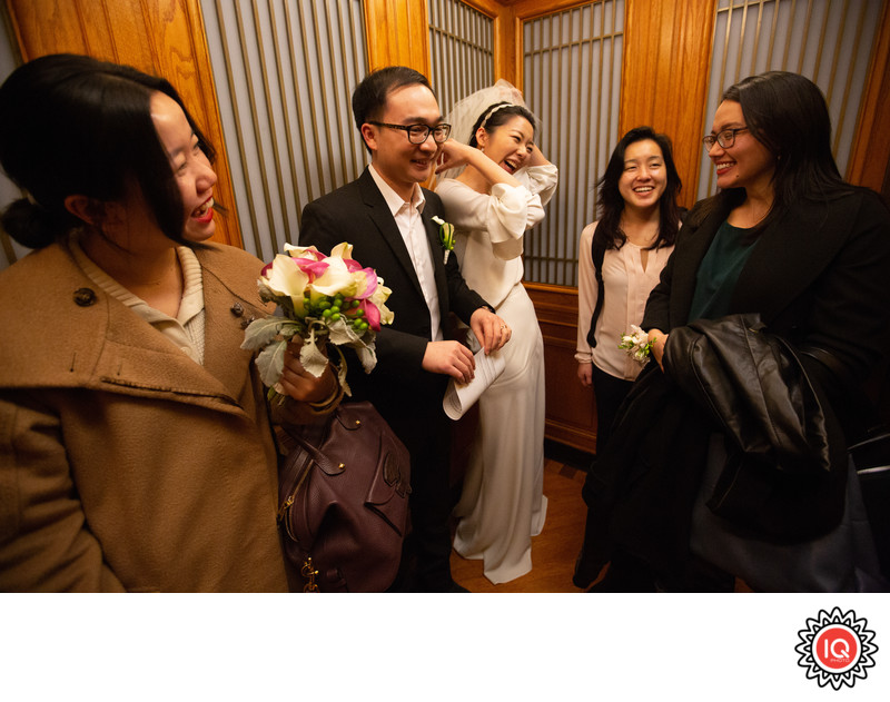Couple with Guests at SF City Hall Elevator