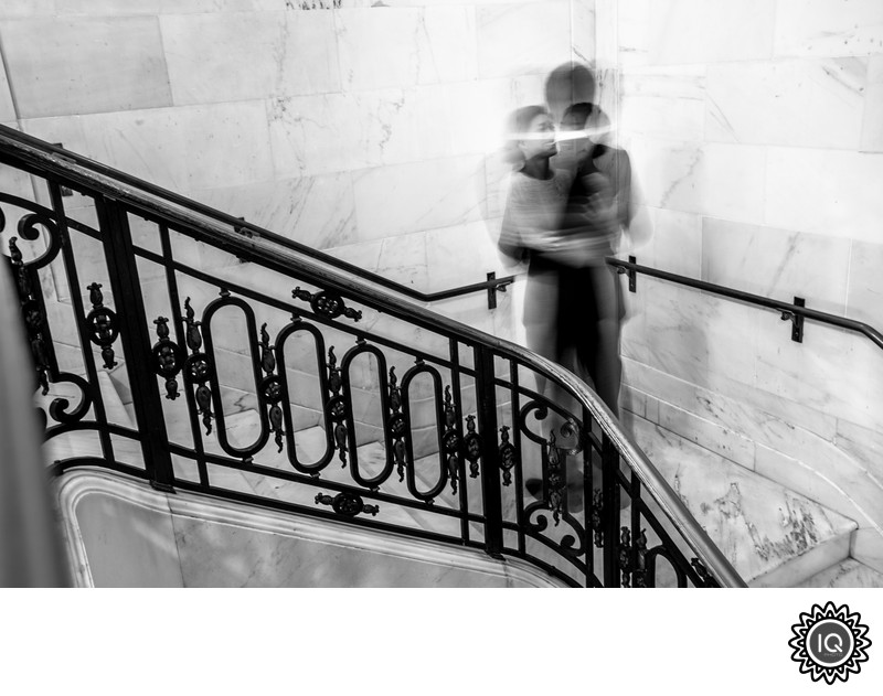 An artistic staircase BW City Hall portrait