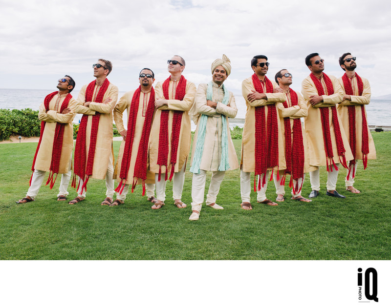 Groom and Groomsmen at Indian Wedding