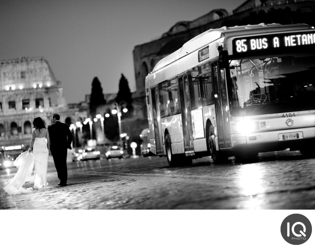 Bride and Groom in the Evening Rome