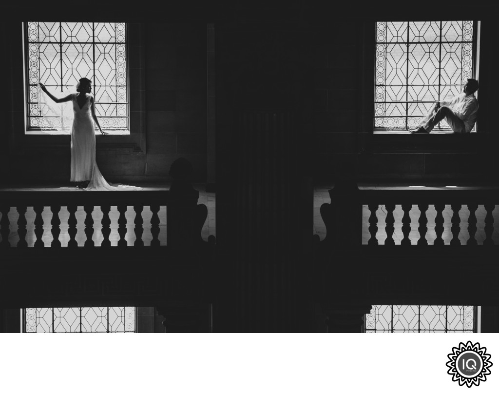 Black and White Image of Bride and Groom