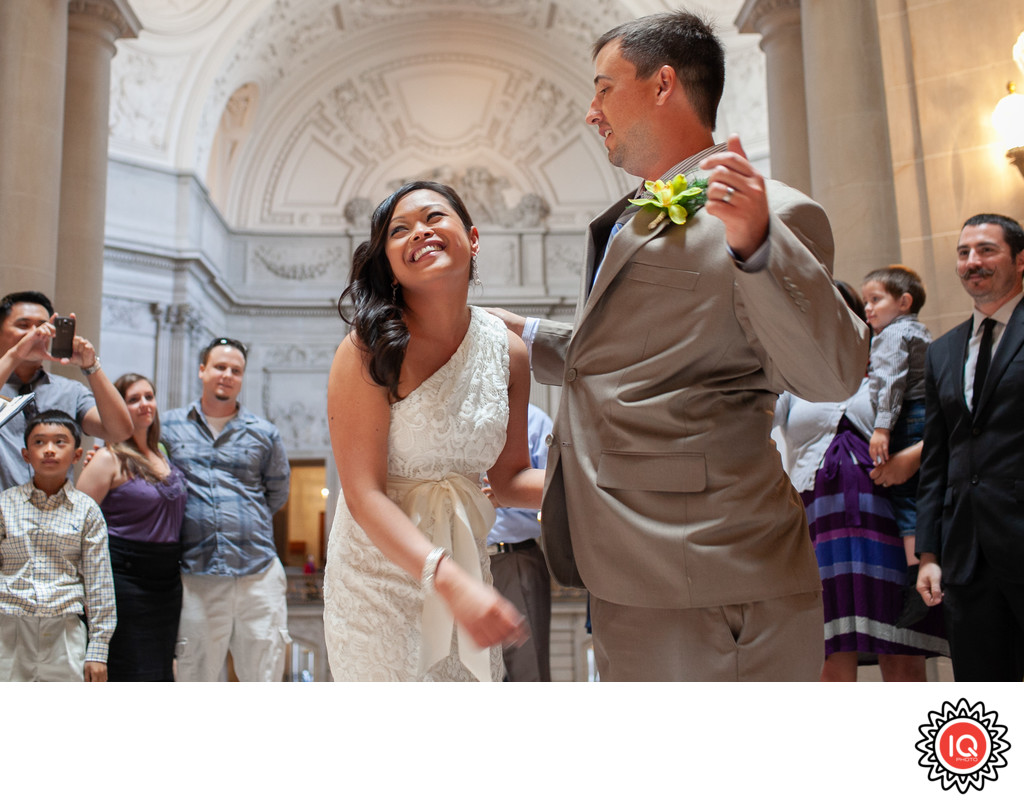 SF City Hall Bride Laughing