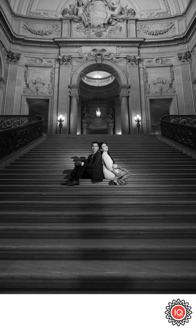 Bride and Groom at SF City Hall Grand Staircase