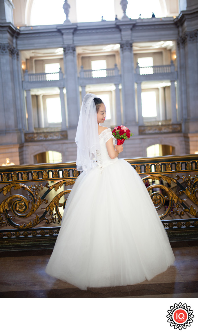 SF City Hall Mayor's Balcony Bride