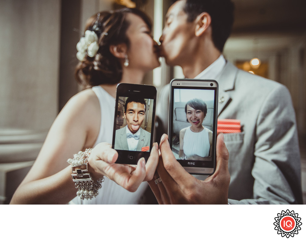 SF City Hall Bride and Groom with Selfies