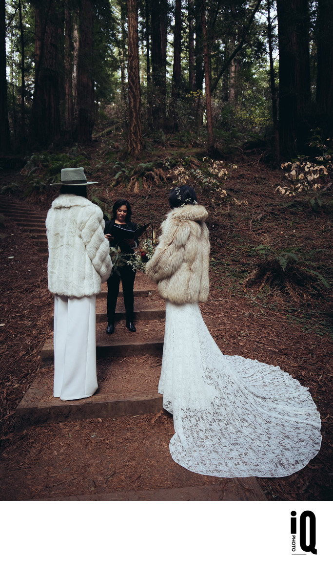 Two Brides and Officiant at Muir Woods