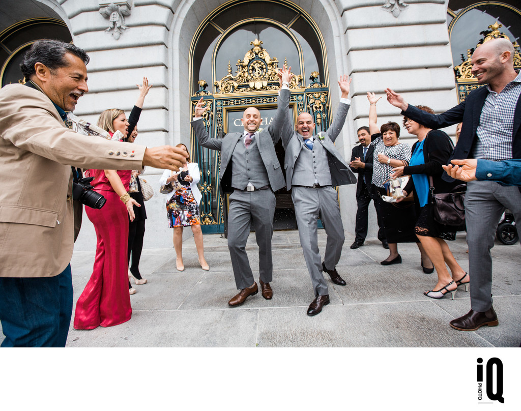 Same Sex Couple with Guests at SF City Hall