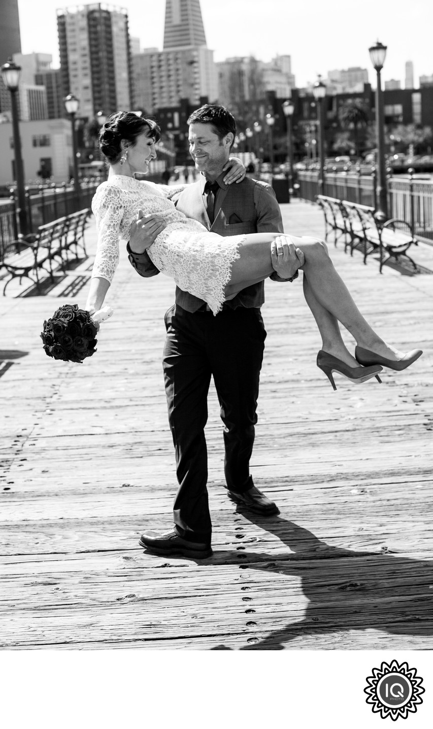 Pier 7 bride and groom portrait