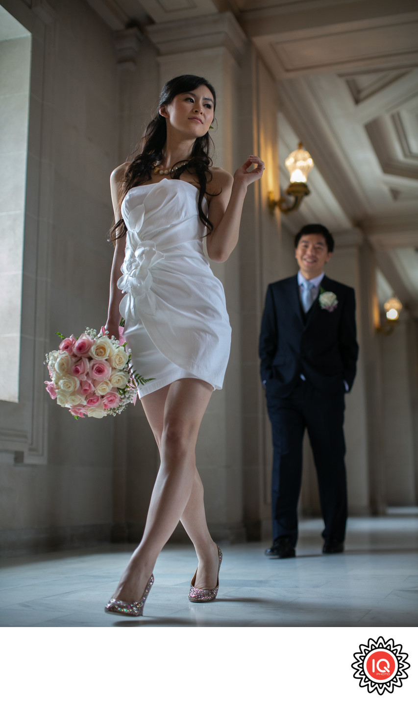 Full-length portrait of SF City Hall couple