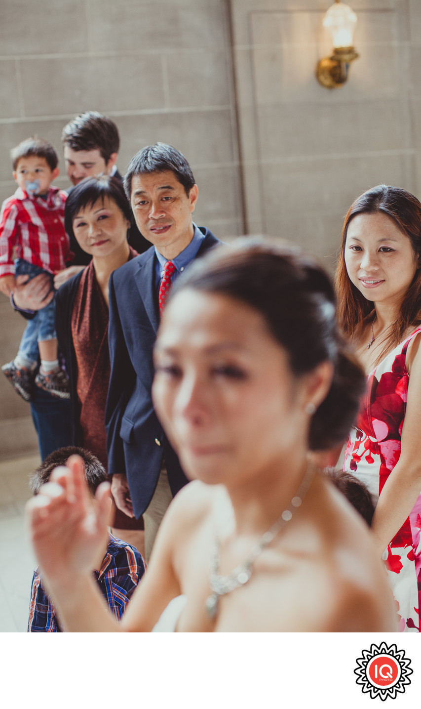 Bride with family at SF City Hall