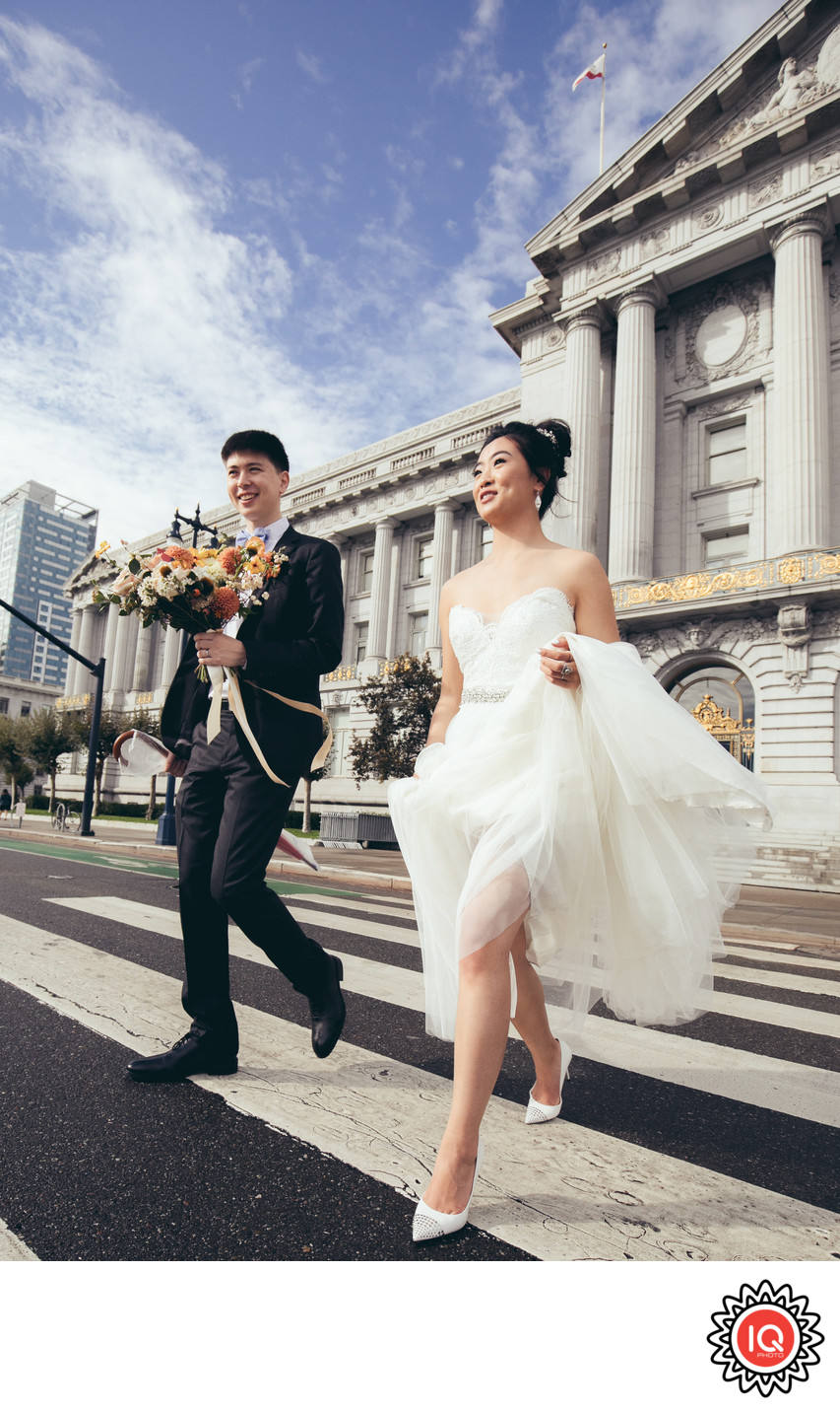 Bride and exiting City Hall