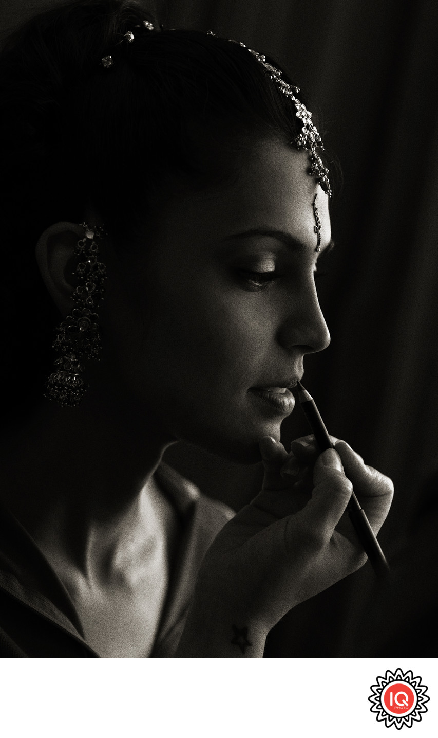 Black and White Portrait of an Indian Bride