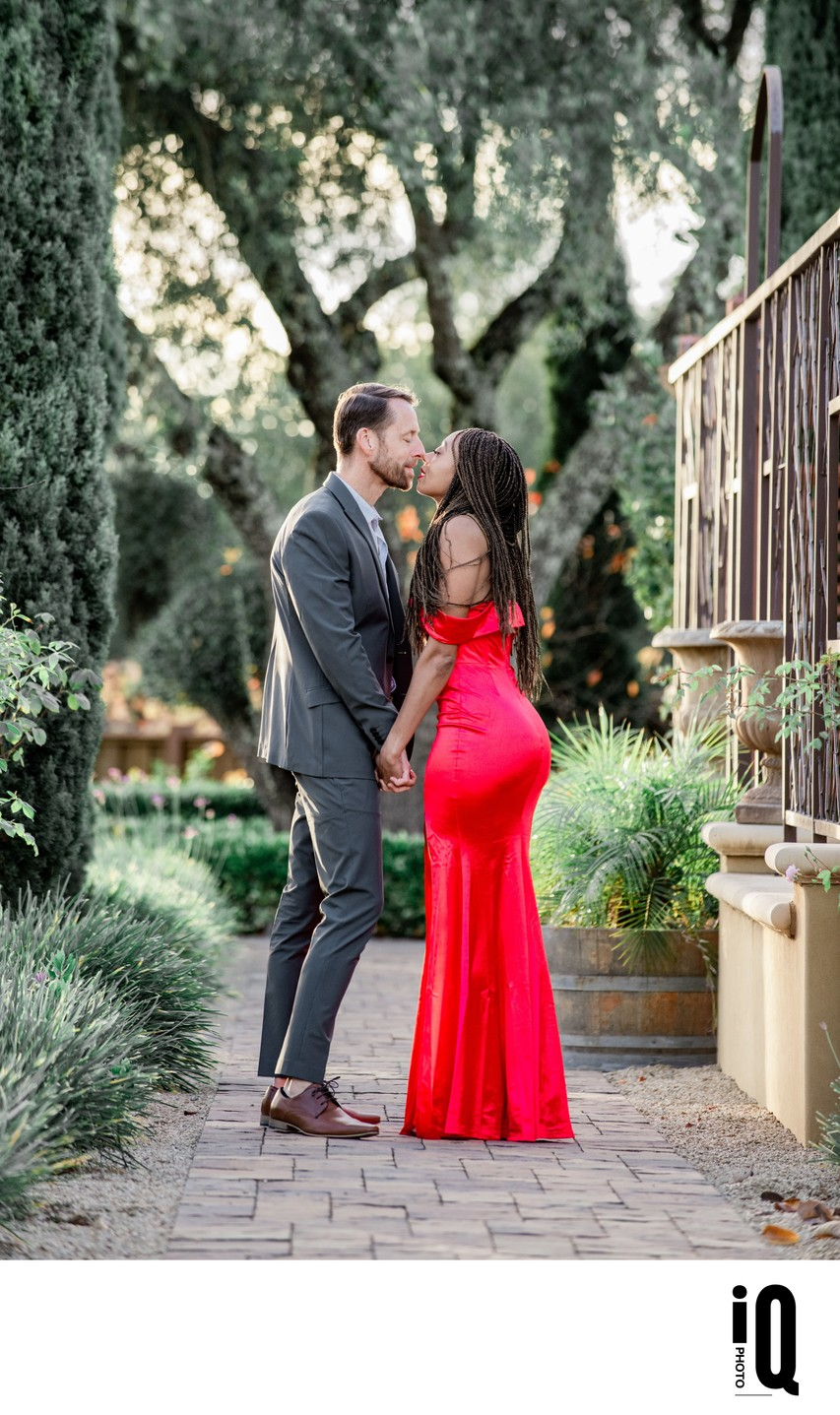 red dress couple portrait