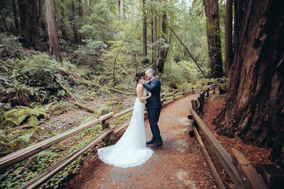 Kissing on a Muir Woods Trail