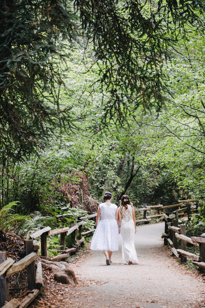 Two Brides Walking in Muir Woods