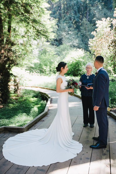 Couple and Officiant at Muir Woods
