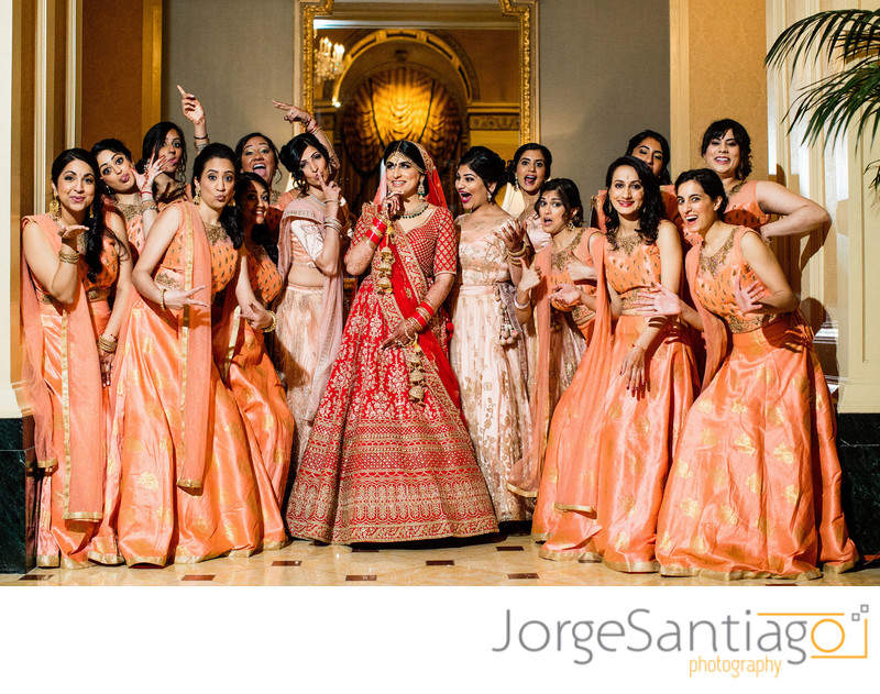Indian Wedding Photo ideas bride and bridesmaids