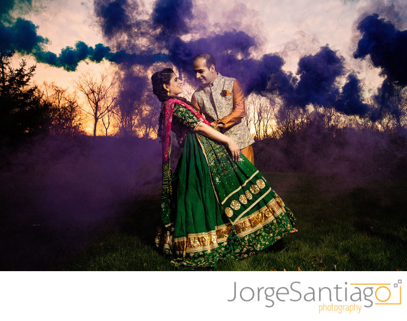 Wedding photo ideas using smoke photobombs
