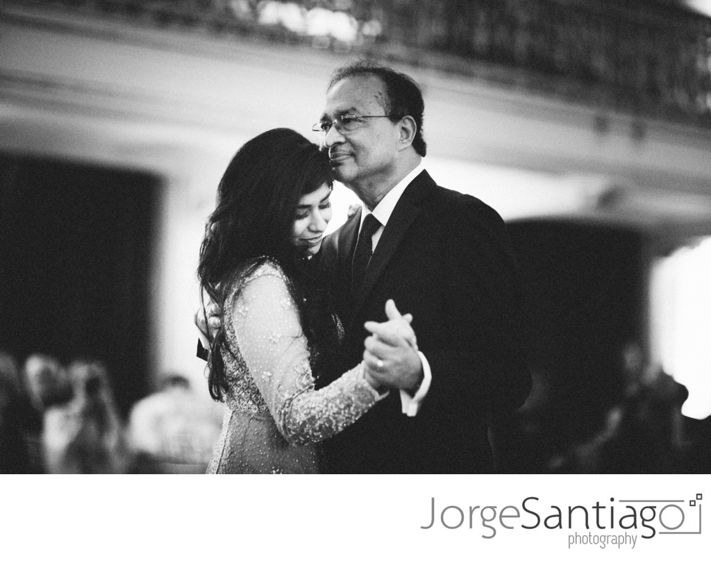 black and white close up of father daughter wedding dance