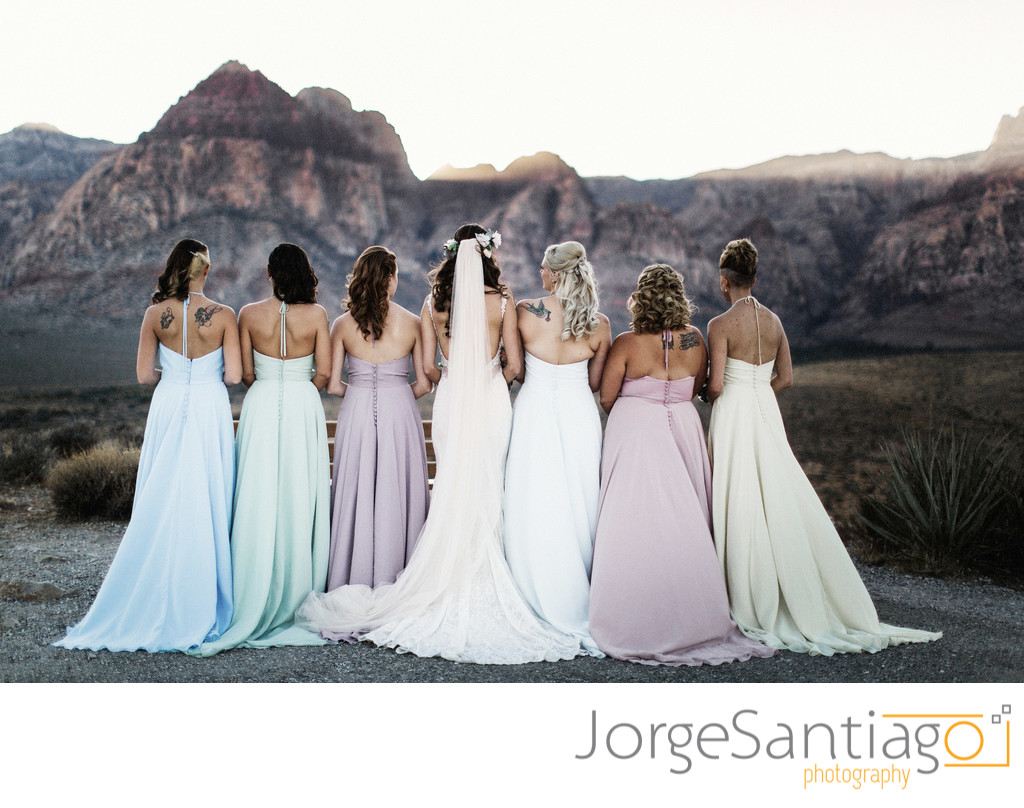 Bride and bridemaids at Red Rock Canyon