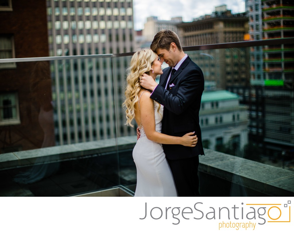 Kimpton Hotel Monaco Pittsburgh Real Wedding Photos - Bride and groom first look